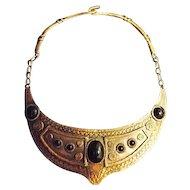 EGYPTIAN REVIVAL Vintage Cadoro Copper Choker Necklace Black Cabochons
