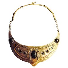 EGYPTIAN REVIVAL Vintage Cadoro Copper Choker Necklace Black Cabochons