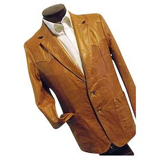 ROCKABILLY Scully Leather Mens Western Jacket Blazer 42 BUTTER SOFT Caramel