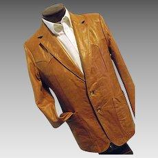 ROCKABILLY Scully Leather Mens Western Jacket Blazer 42 BUTTER SOFT Caramel