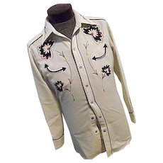 ROCKABILLY Vintage H Bar C Calif Ranchwear Mens Western Shirt Embroidered Snaps S-M