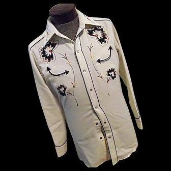 ROCKABILLY Vintage H Bar C Calif Ranchwear Mens Western Shirt Embroidered Snaps S-M
