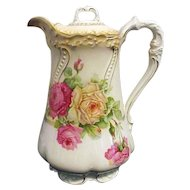 Lovely Antique Porcelain Chocolate Pot With Roses C&E Carstens Wilmar Germany