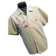 RARE Vintage 1960s Iolani Mens Hawaiian Camp Shirt Lg Screen Printed Cranes Signed