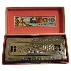 Vintage M Hohner THE ECHO HARP Harmonica C/G Double Sided Germany W/ Box