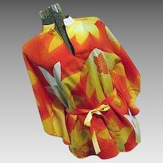 Vintage 1960s HOOKANO Hawaiian Caftan Style Tunic Top Blouse Orange Med