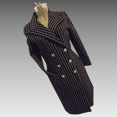 ADORABLE Vintage Butte Knit Womens Nautical Sailor Style Dress Coat Blue Pinstripe Sm