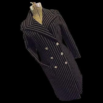 ADORABLE Vintage Butte Knit Womens Nautical Sailor Style Dress Coat Blue Pinstripe Sm