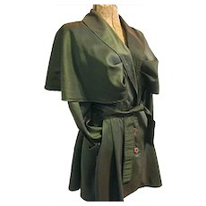 Vintage Jay Jacobs Womens Green Lt Wt Coat Jacket Peplum Skirt Caped Shoulders M