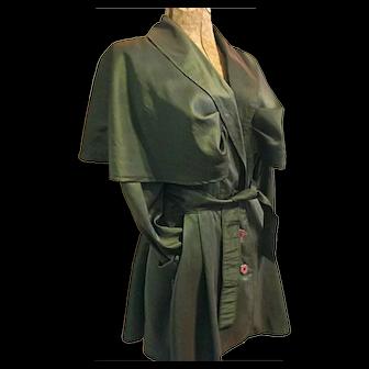 Vintage Jay Jacobs Womens Green Lt Wt Coat Jacket Peplum Skirt Caped Shoulders M