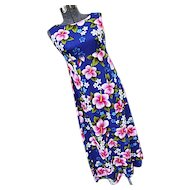 NOS Ui Maikai Vintage 1960s Maxi Hawaiina Dress Hostess Blue Pink Hibiscus Barkcloth