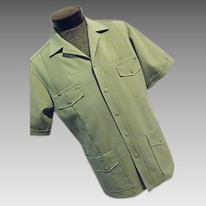 Vintage 1960s Iolani Executive Mens Hawaiian Lounge Camp Shirt Green XL Lg