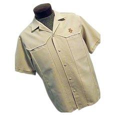 Vintage 1960s Iolani Executive Mens Hawaiian Lounge Camp Shirt Tan XL Lg