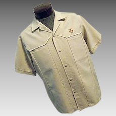 Vintage 1960s Iolani Executive Mens Hawaiian Lounge Camp Shirt Tan XL Lg