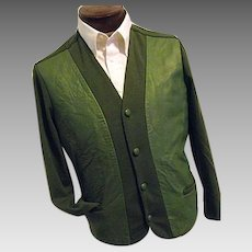 ATOMIC Vintage 1940s Mens Green Golf Old Man Sweater Jersey Knit Leather Front Lg