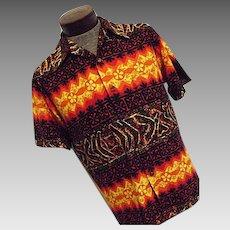 ATOMIC Vintage 1960s EVELYN MARGOLIS Mens Hawaiian Shirt Cotton Barkcloth Lg Tiki