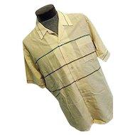 NOS Vintage 1960s Joel Profiles Mens Thin Button Camp Lounge Shirt Beige Stripe XL