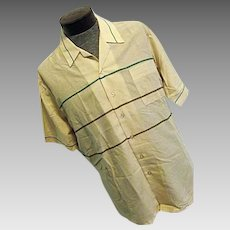 NOS Vintage 1960s Joel Profiles Mens Thin Button Camp Lounge Shirt Beige Stripe XL