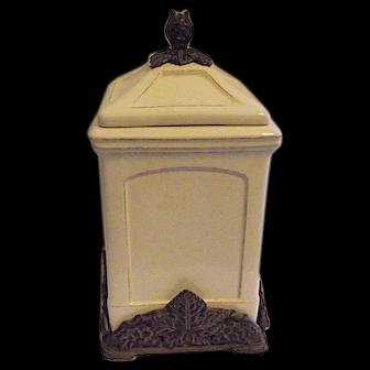 ARTHUR COURT 2006 Tall Canister Cookie Jar Metal Vintage Grape Base Knob