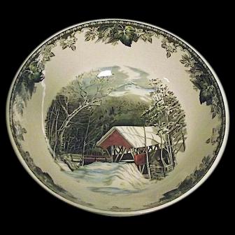 "RARE Vintage The Friendly Village Johnson Bros England Large 12"" Salad Bowl EXCELLENT"