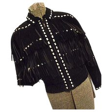 EBONY & IVORY Vintage M Julian Womens Black Leather Jacket Fringe White Laces Medium