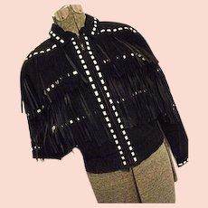 EBONY & IVORY Vintage M Julian Womens Black Leather Jacket Fringe White Laces Medium