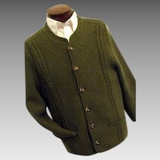 HIGH QUALITY Distler Trachten Mens Green 100% Boiled Wool Cardigan Sweater M-L Austria