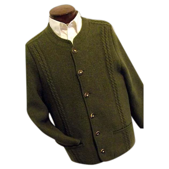 HIGH QUALITY Distler Trachten Mens Green 100% Boiled Wool Cardigan Sweater M-L Austria