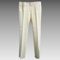 Authentic DOLCE & GABBANA Italy Womens Nice Trousers White Sz 40 2-4 US Rayon Sm
