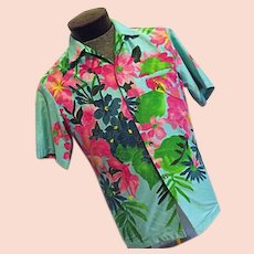 64f4483b ATOMIC Vintage 1970s ELSIE KRASSES Mens Hawaiian Shirt Bright Blue Flowers  Med Waikiki. The Sampler Antiques