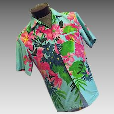 ATOMIC Vintage 1970s ELSIE KRASSES Mens Hawaiian Shirt Bright Blue Flowers Med Waikiki