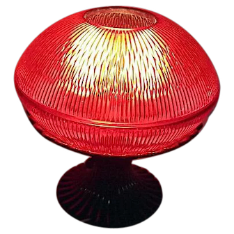 ATOMIC Vintage Black & Red Plastic UFO Saucer Lamp Electric Table