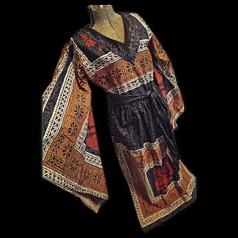 WOW Vintage 1970s Womens Boho Maxi Dress Caftan Angel Wing Sleeves Vikinga's Mexico