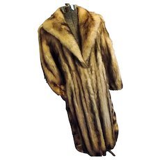 Vintage Full Length FITCH FUR Coat Womens M-L Ivory W Brown Tips MUST SEE