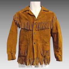 Vintage 1960s Jo-O-Kay Corral Sportswear Mens Suede Leather Jacket Fringe Boho