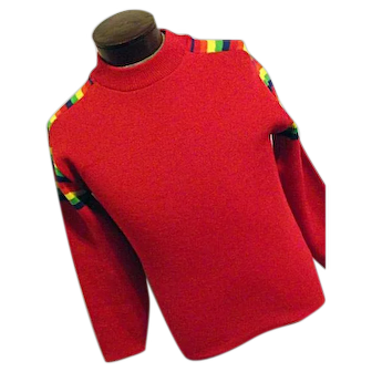 Vintage 1970s Ski Country Colorado Knitting Mills Mens 100% Wool Sweater Red