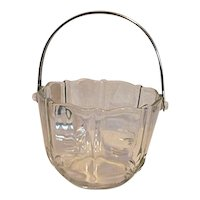 Fostoria Baroque Clear Crystal Glass Ice Bucket with Chrome Handle