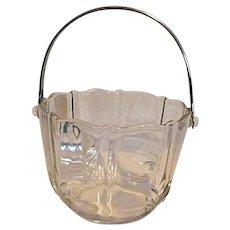 Fostoria Baroque Clear Crystal Glass Ice Bucket with Chrome Handle