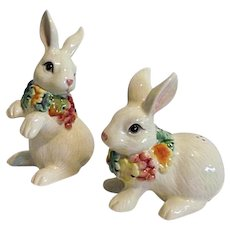 Fitz & Floyd Pair of White Bunnies or Rabbit Salt & Pepper Shakers
