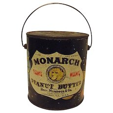 Vintage Monarch Teenie Weenie Peanut Butter Tin Bucket 2lbs Great Graphics