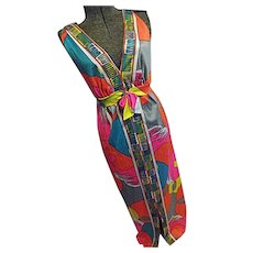PSYCHEDELIC Vintage 1960s Womens Wild Color Halter Maxi Dress Sm-Med