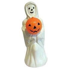Vintage Empire Lighted Ghost Holding JOL Jack O Lantern Blow Mold