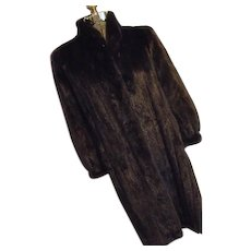 Vintage BLACKGAMA Worlds Finest Dark Mahogany Ranch Mink Fur Long Coat M-L