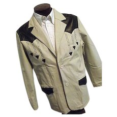 ROCKABILLY Mens Vintage Niko All Leather Blazer Jacket Western Tan W/Black Med