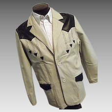 ROCKABILLY Mens Vintage Niko All Leather Blazer Jacket Western Tan W/Black Med