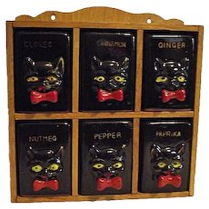 Vintage 1950s Shafford BLACK CAT 6pc Spice Jar Set Rack YELLOW EYES Redware Japan