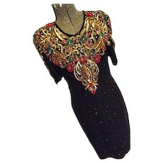 DAZZLING Vintage Scala Womens Black Beaded & Sequin Evening Dress Sm Red Gold Green