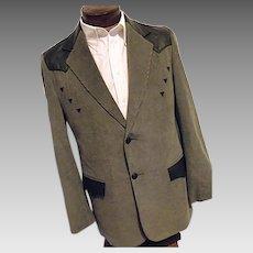 ROCKABILLY Mens Vintage Pioneer Wear Western Blazer 42L Gray Corduroy Black Leather