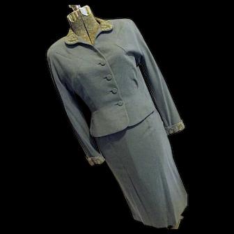 1940s Vintage Forstmann Womens Wool Rabbit Hair Pencil Skirt Suit Pinched Waist Jacket