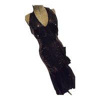 SEXY Vintage 80s Nadine Womens Black Halter Maxi Dress Sequins MERMAID Style 7/8 Evening